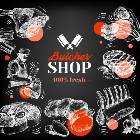 Hand getrokken schets vlees slagerij achtergrond. Vector vintage illustratie. Schoolbord menu posterontwerp