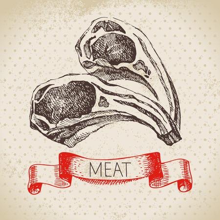 손으로 그린 스케치 고기 제품. 벡터 빈티지 그림입니다. 메뉴 디자인 스톡 콘텐츠 - 92872713