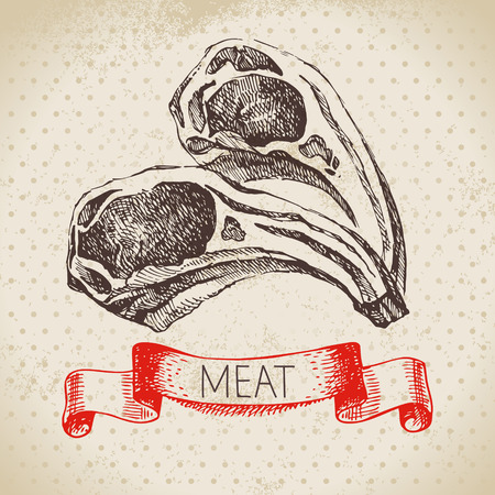 Hand drawn sketch meat product. Vector vintage illustration. Menu design