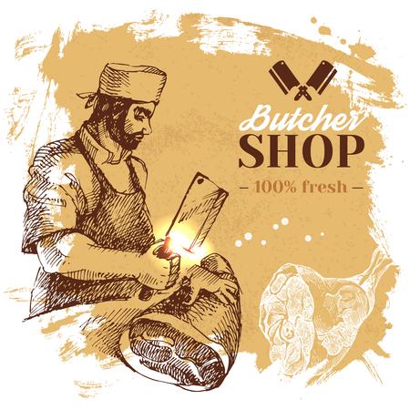手描きスケッチ肉肉屋店の背景。ベクトルヴィンテージイラスト。メニューポスターデザイン