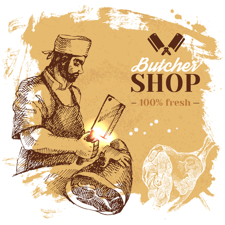 Hand drawn sketch meat butcher shop background. Vector vintage illustration. Menu poster design