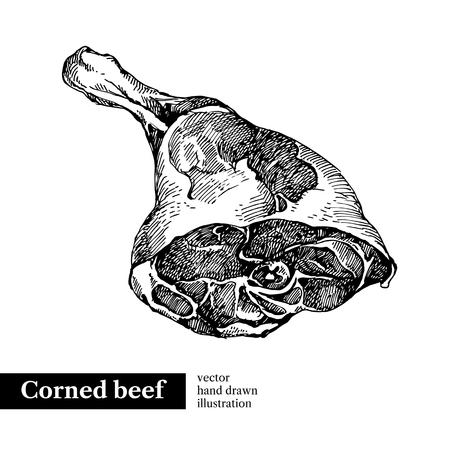 손으로 그린 스케치 고기 제품. 벡터 빈티지 그림입니다. 메뉴 디자인 스톡 콘텐츠 - 92872717