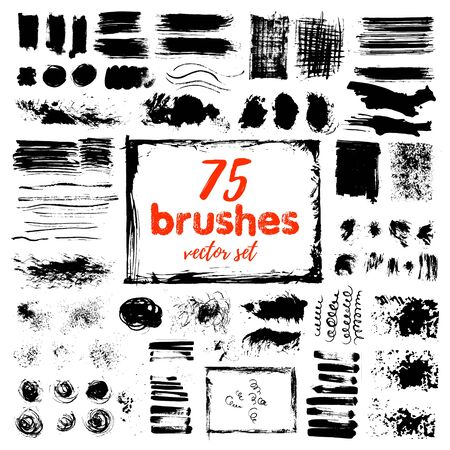 Hand draw sketch paintbrush set. Artistic sketch grunge painted brash isolated vector illustration