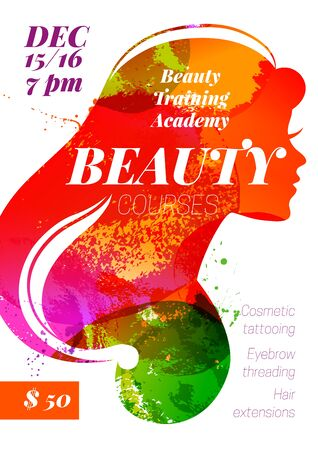 Beauty courses and training poster. Beautiful watercolor girl silhouette. Illusztráció