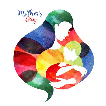 Mother silhouette with her baby. Card of Happy Mothers Day. Vector illustration with beautiful woman and child
