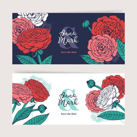 Hand drawn floral wedding invitation card set. Sketch vector illustration. Save the date design banners Illustration