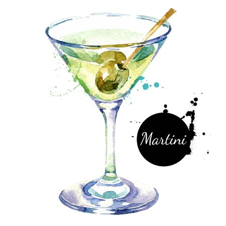 Hand drawn sketch watercolor cocktail Martini. Vector isolated food illustration