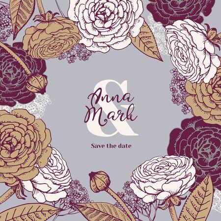 Hand drawn floral wedding invitation card. Sketch vector illustration. Save the date design background Illustration