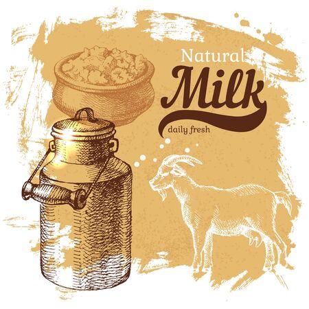 Hand drawn sketch milk products background. Vector vintage illustration