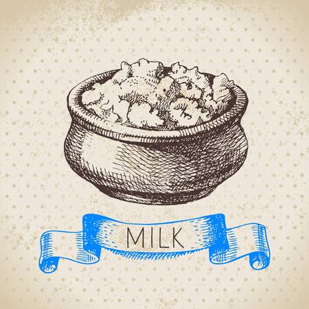 Hand drawn sketch milk products background. Vector black and white vintage illustration. Bowl of cottage cheese