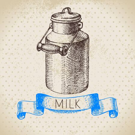 Hand drawn sketch milk products background. Vector black and white vintage illustration of can Illustration