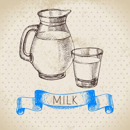 Hand drawn sketch milk products background. Vector black and white vintage illustration of jug and glass