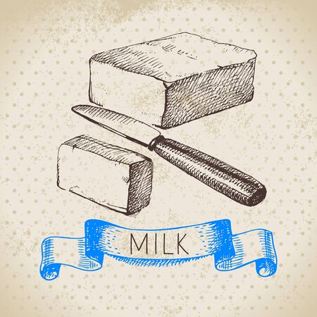 Hand drawn sketch milk products background. Vector black and white vintage illustration of butter Illustration