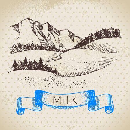Hand drawn sketch milk products background. Vector black and white vintage illustration of landscape