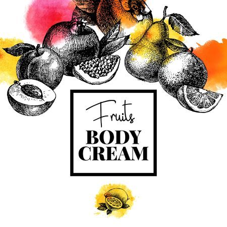 Hand drawn sketch watercolor fruits background. Vector isolated food illustration. Packaging cosmetics body cream design Illustration