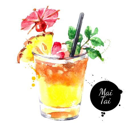 Hand drawn sketch watercolor cocktail Mai Tai. Vector isolated food illustration