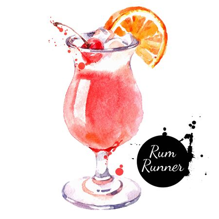 Hand drawn sketch watercolor cocktail Rum Runner. Vector isolated food illustration Illustration