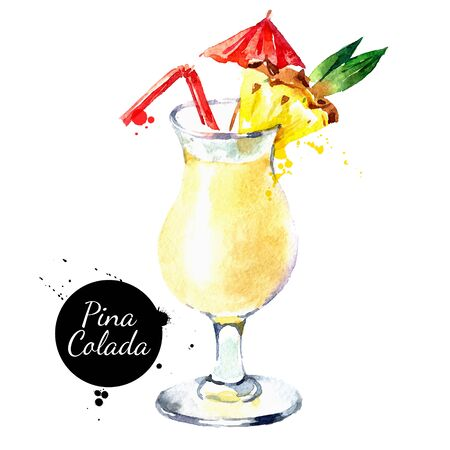 Hand drawn sketch watercolor cocktail Pina Colada. Vector isolated food illustration