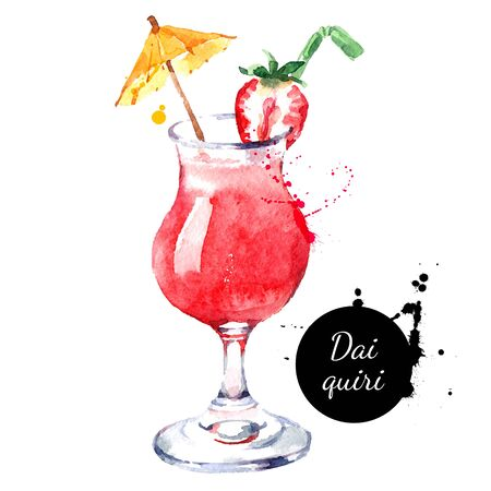 Hand drawn sketch watercolor cocktail Daiquiri. Vector isolated food illustration