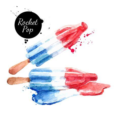 Hand drawn sketch watercolor dessert ice cream Rocket Pop. Vector isolated food illustration