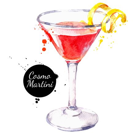 Hand drawn sketch watercolor cocktail Cosmo Martini. Vector isolated food illustration Illustration