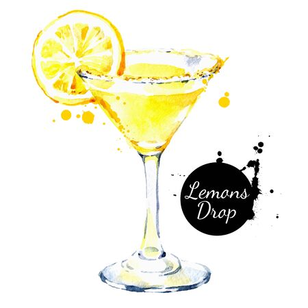 Hand drawn sketch watercolor cocktail Lemons Drop. Vector isolated food illustration