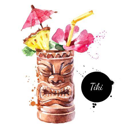 Hand drawn sketch watercolor cocktail Tiki Mug. Vector isolated food illustration