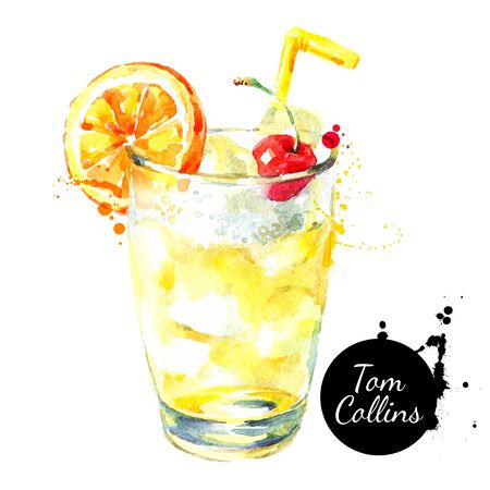 Hand drawn sketch watercolor cocktail Tom Collins. Vector isolated food illustration