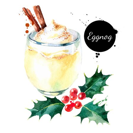 Watercolor hand drawn sketch Christmas cocktail Eggnog with cinnamon and holly berries. Vector isolated illustration on white background