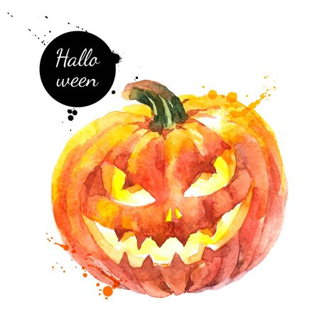 Watercolor hand drawn sketch Halloween Scary Pumpkin. Vector holiday isolated painted illustration on white background