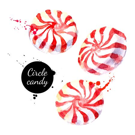 Watercolor hand drawn sketch Christmas circle peppermeint candy lollypop. Vector isolated painted illustration on white background Illustration