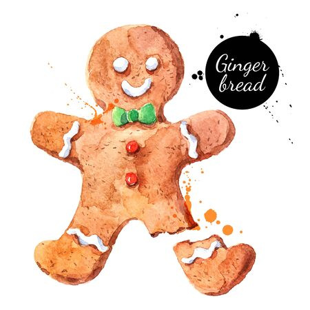 Watercolor hand drawn sketch Christmas cookie gingerbread man. Vector isolated illustration on white background