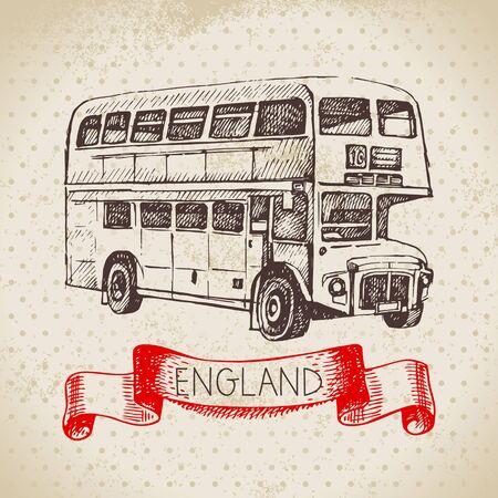 Hand drawn sketch England vintage background. Vector black and white vector vintage London bus illustration. Great Britain element