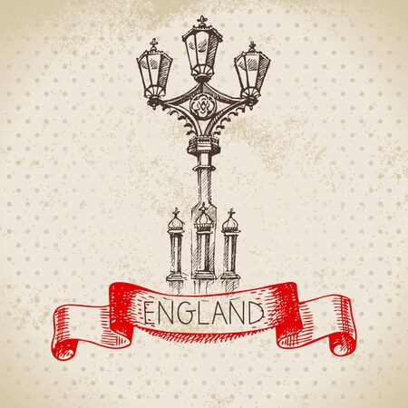 Hand drawn sketch England vintage lantern background. Vector black and white vector vintage London illustration. Great Britain element
