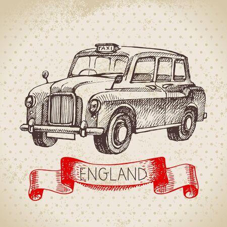 Hand drawn sketch England vintage taxi car background. Vector black and white vector vintage London illustration. Great Britain element Illustration