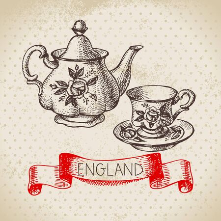 Hand drawn sketch England vintage dishes background. Vector black and white vector vintage London teapot and tea cup illustration. Great Britain element