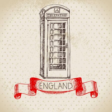 Hand drawn sketch England vintage background. Vector black and white vector vintage London phone booth illustration. Great Britain element