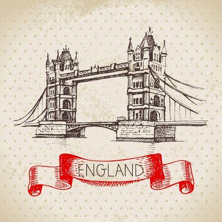 Hand drawn sketch England vintage background. Vector black and white vector vintage London Tower Bridge illustration. Great Britain element