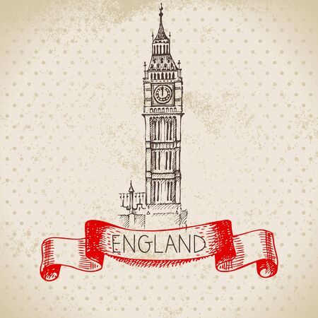 Hand drawn sketch England vintage background. Vector black and white vector vintage London Big Ben illustration. Great Britain element