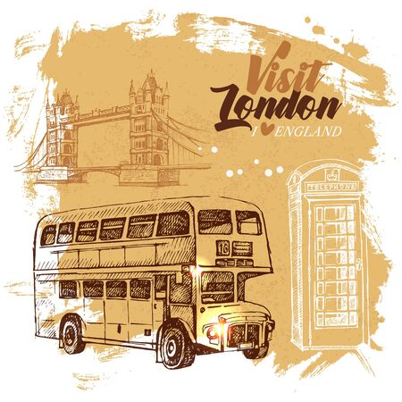Hand drawn sketch England vintage background. Vector black and white vector London illustration. Great Britain poster