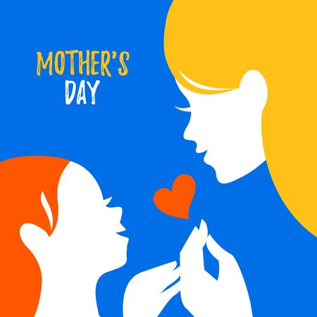 Beautiful mom silhouette with baby. Vector illustration. Mother day card