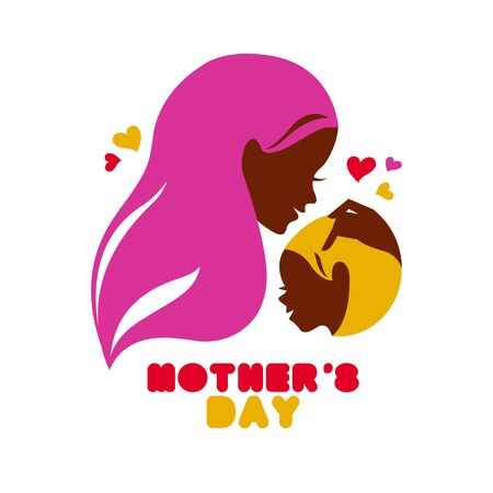 Mother silhouette with baby. Card of Happy Mothers Day. Vector illustration with beautiful woman and child