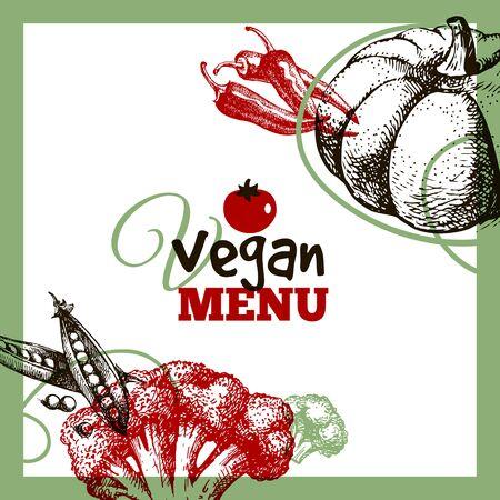 Eco food menu background. Hand drawn sketch vegetables. Farmers market poster. Vector illustration