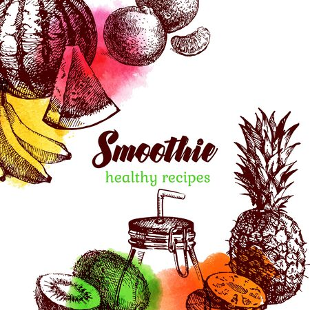 Hand drawn sketch watercolor fruits background. Vector isolated food illustration. Smoothie cocktail design