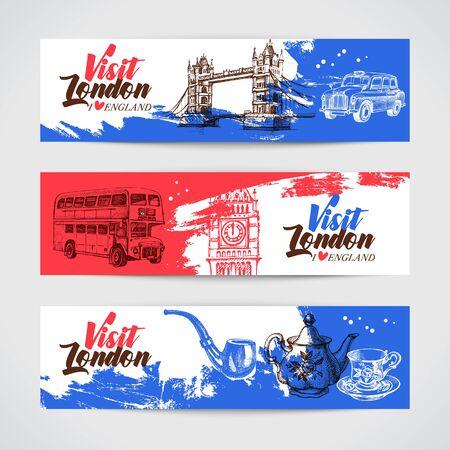 Hand drawn sketch England vintage banners. Vector London illustration. Great Britain background set