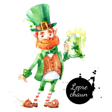 Watercolor hand drawn Leprechaun character. Isolated St Patrick day vector illustration on white background Vettoriali