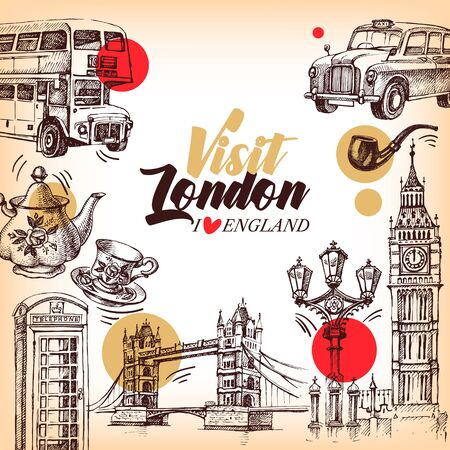 Hand drawn sketch England vintage banner. Vector London illustration. Great Britain background set Ilustração