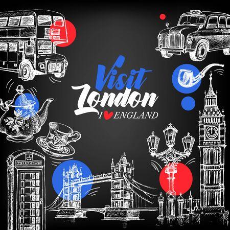 Hand drawn sketch England vintage chalkboard banner. Vector London illustration. Great Britain background set  イラスト・ベクター素材