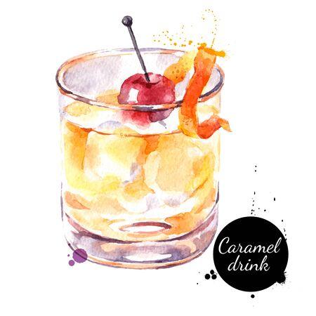 Watercolor caramel cocktail illustration. Painted isolated fresh delicious food white background Ilustracje wektorowe