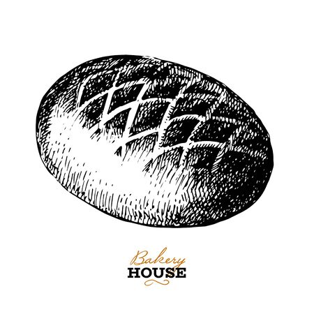 Hand drawn sketch bread background. Vector illustration of natural bakery foods